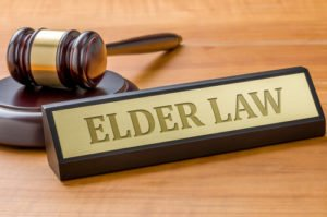 Elder law placard with gavel